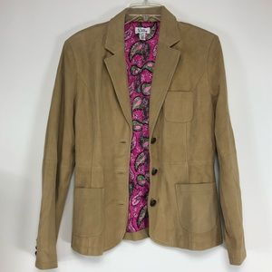 Lilly Pulitzer lamb suede leather blazer. Size med
